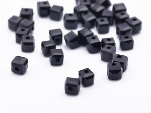 50pcs-4mm-Cube-Square-Faceted-Crystal-Glass-Findings-Loose-Spacer-Beads-Black