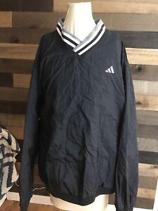 Vintage-Adidas-Pullover-Windbreaker-Jacket-Black-Lined-Side-Zipper-Big-Logo-Xl