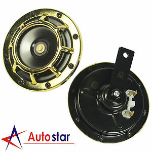 Loud Car Horn >> Gold 12v Super Loud Blast Tone Grill Mount Electric Compact Car Horn
