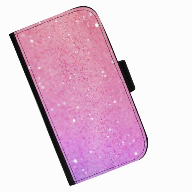 BG57 Brillo Rosa Impreso Cartera De Piel/Cubierta para Estuche Abatible Para Teléfono Móvil