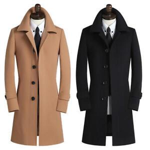 Super Rabatt Repliken besserer Preis Details zu Mantel Herren Mantel Wollmischung Jacke Jacke Übergröße Slim Fit  F115