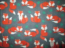 FOX FOXY LEAVES GRAY GREEN COTTON FABRIC FQ
