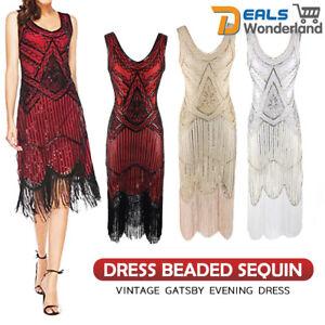 Women-039-s-1920s-V-Neck-Flapper-Dress-Beaded-Sequin-Vintage-Gatsby-Evening-Dress