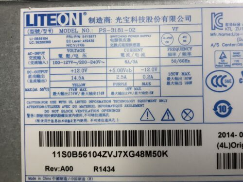 @ LITEON PS-3181-02 180W SFF  POWER SUPPLY 54Y8871 for IBM THINKCENTRE M79 @@@