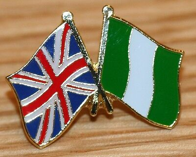 UK & NIGERIA FRIENDSHIP Flag Metal Lapel Pin Badge Great Britain