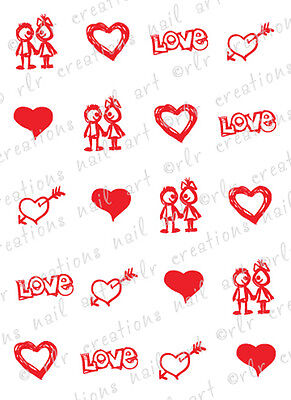 20 Nail Decals VALENTINE LOVE SKETCHES Water Slide Nail Art Decals Nail Art