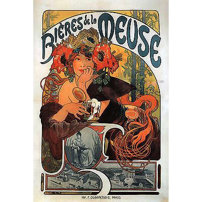 Canvas Picture Alphonse Mucha Art Nouveau Deco Bières de la Meuse NEW Poster