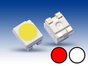 S668-10-Stueck-DUO-Bi-Color-LED-SMD-3528-weiss-rot-Lichtwechsel-Loks-Wendezug