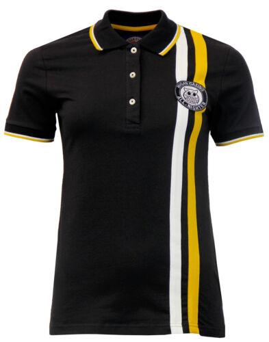 Femme Wigan Casino Rétro Classique Twin à Rayures Polo Shirt-WC2073 Noir