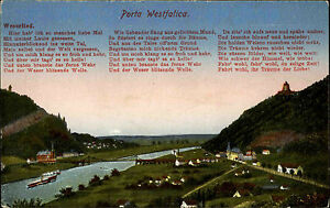 Porta-Westfalica-Color-Postkarte-1910-Blick-ins-Wesertal-Text-Weserlied-Bruecke