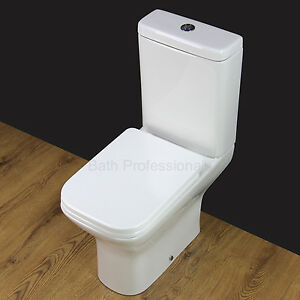 Toilet WC Bathroom Close Coupled Ceramic Heavy Duty Soft Closing Seat Cover T