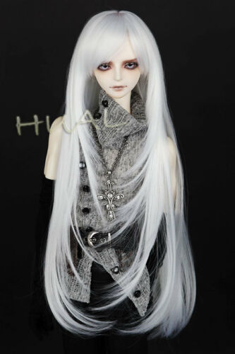 "7-8/"" 1//4 BJD White Cool Long Straight Buckle Layers Tips Wig LUTS Doll SD Hair"