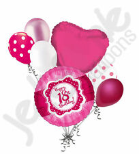 7 Pc Happy 18th Birthday Hot Pink Dots Balloon Bouquet Eighteen Ribbon Lace