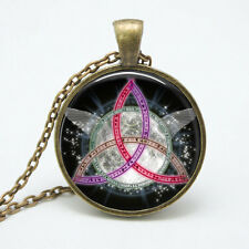 Color Triquetra brass glass cabachon pendant NEW wicca witchcraft wiccan witch