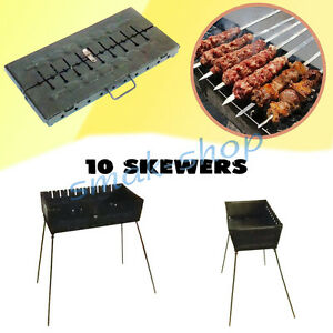 10 Brochette Mangal Schaschlik Grill Brasero Barbecue Char Grill Case Barbecue Chargrill-afficher Le Titre D'origine Mode Attrayante
