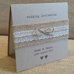 Image Is Loading Vintage Style Wedding Invitation With Hessian Amp Lace