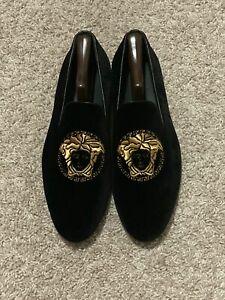 $695 Versace Medusa Velvet Black Gold