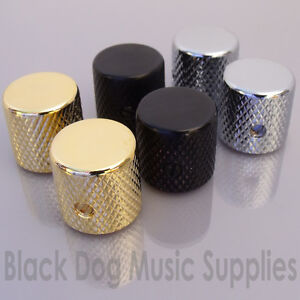 2x-Guitar-control-knobs-Screw-Fixing-in-Chrome-Black-or-Gold-flat-top