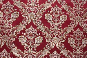 7 Yards Red Floral Brocade Gold Medallion Upholstery Fabric