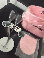 Moet Chandon Rose Bucket RARE Metal Twin Stem Y 2 Acrylic Flutes 2 ❤️ Tattoos