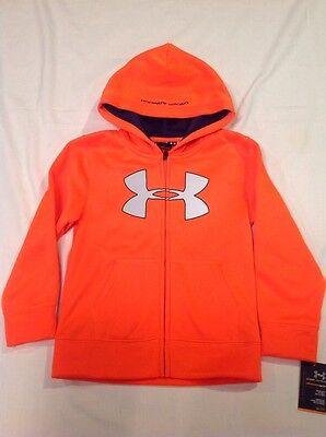 Boys Youth Under Armour Big Logo Full Zip Polyester Hoodie Orange Size 5 NWT
