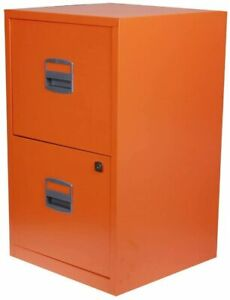 Bisley A4 Filing Cabinet Drawer Personal Filer Steel 2 Compartment - Orange