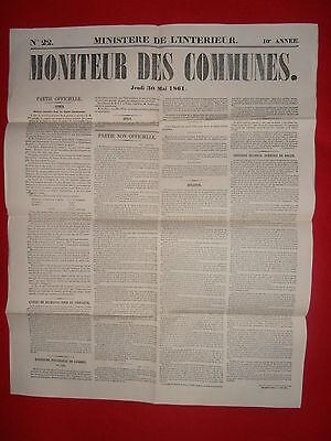 Lagere Prijs Met Journal Le Moniteur Des Communes Ministere De L'interieur N°22 - 30 Mai 1861 Elegant In Stijl