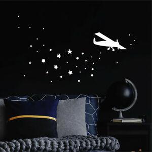 Leuchtaufkleber-Kinderzimmer-Flugzeug-Sterne-leuchten-im-Dunklen-Flieger-Junge