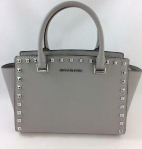 9fafcb2aeb26 New Authentic Michael Kors Selma Stud Medium Top Zip Satchel Handbag ...