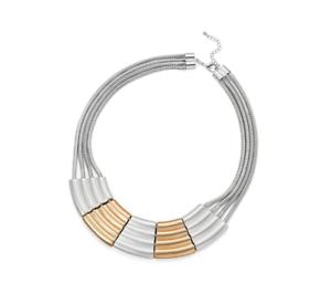 Reino Unido Vendedor Nuevo Hermoso Mate Plata Y Oro macizo Distintivo Collar