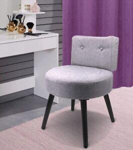 SCHMINKHOCKER-mit-LEHNE-Polsterstuhl-klein-Sessel-Stuhl-Hocker-Stoff-Sitzhocker