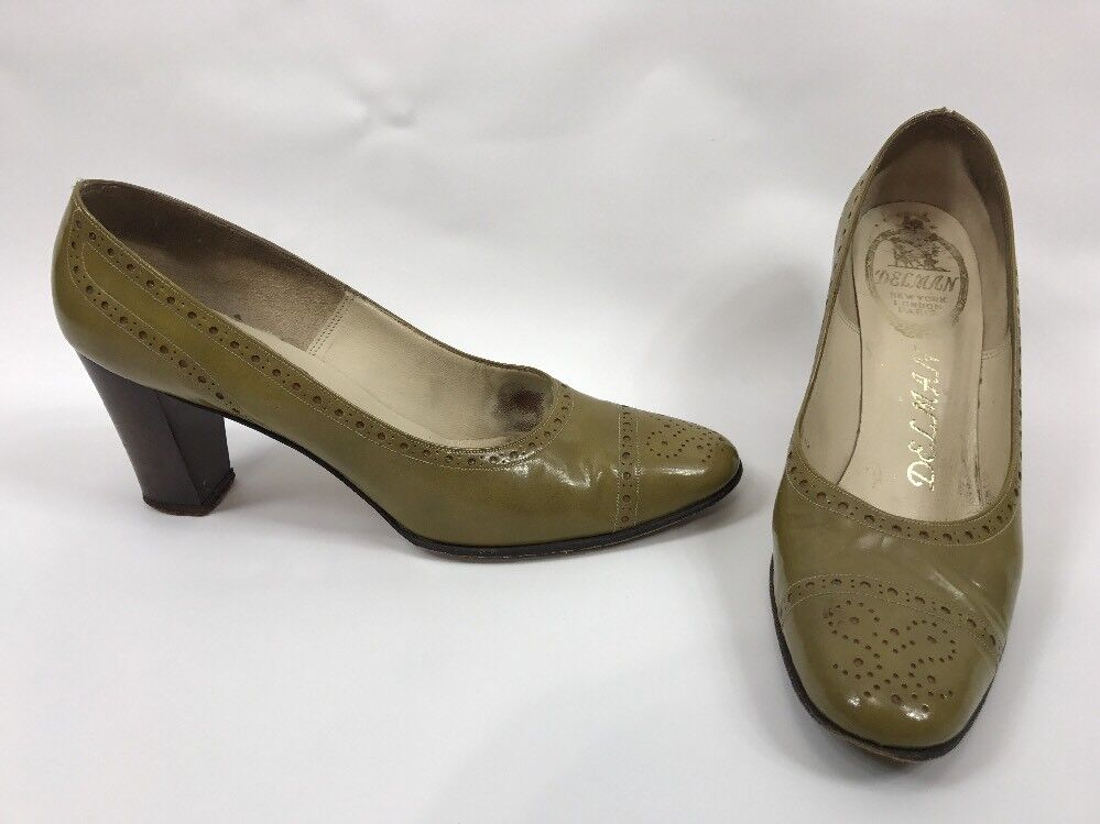 Delman Vintage Block Heel Pumps Shoes Olive Donna Size 7