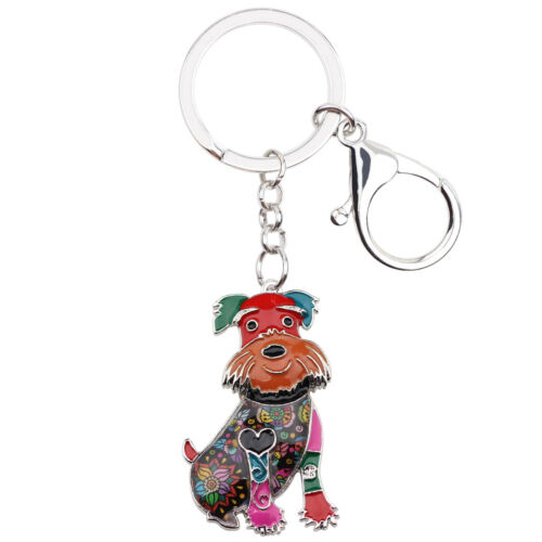 Enamel Alloy Cute Schnauzer Dog KeyChain Ring For Women Girl Purse Jewelry Gifts