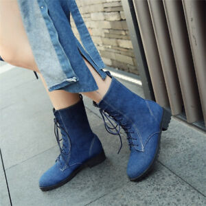 Women-Flat-Heel-Denim-Ankle-Boots-Plus-Size-Lace-up-Rinding-Motorcycle-Jean-Boot