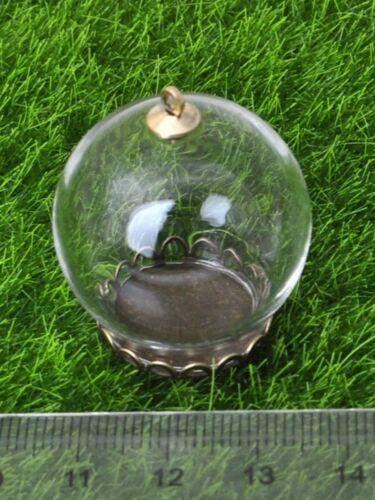 5 Sets Globe Verre Bouteille Pendentif 25 mm 30 mm 35 mm Gold Cap Bronze Base Mémoire Loc