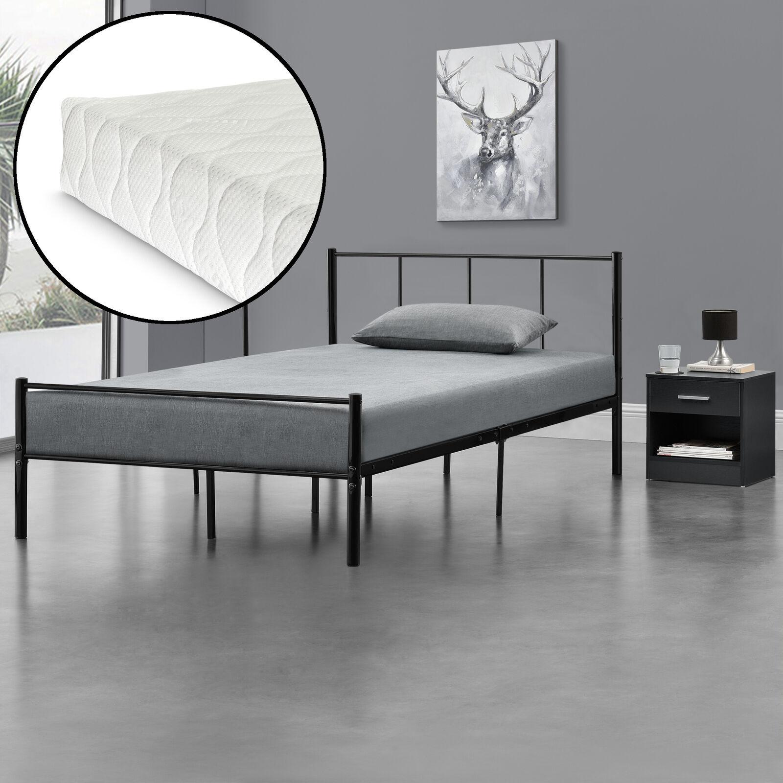 [en.casa] Metallbett 120x200 mit Matratze Schwarz Bettgestell Design Bett Metall