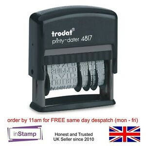 TRODAT 4817 SELF INK DIAL A PHRASE DATE STAMP MULTI WORD PAID RECEIVED ENTERED