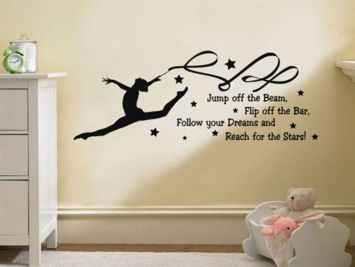 "Vinyl Wall Art Transfer Sticker Gymnastics Wall Quote /""Follow Your Dreams.../"""