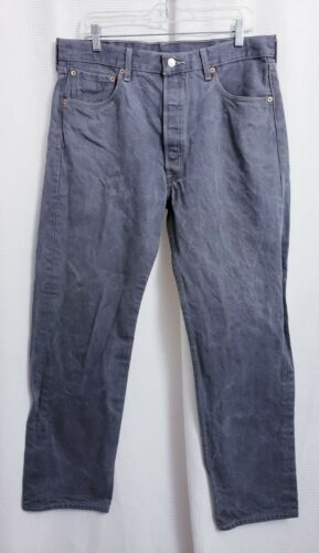 Levis 501 Straight Fit Gray Button Fly 36x34
