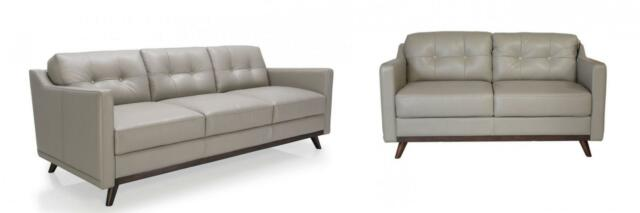 Moroni Monika 359 Argent Top Grain Leather Upholstery Mid Century Sofa Set 2 Pcs