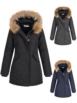 Blogger designer Damen Parka Echt Fell Pelz Waschbär Jacke Mantel Echtfell coat