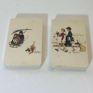 Vintage Norman Rockwell Playing Cards  2 Decks SEALED USA