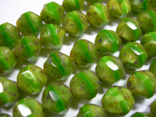 15 9mm Green Opal Picasso Firepolished Thru Cuts Czech Glass Beads