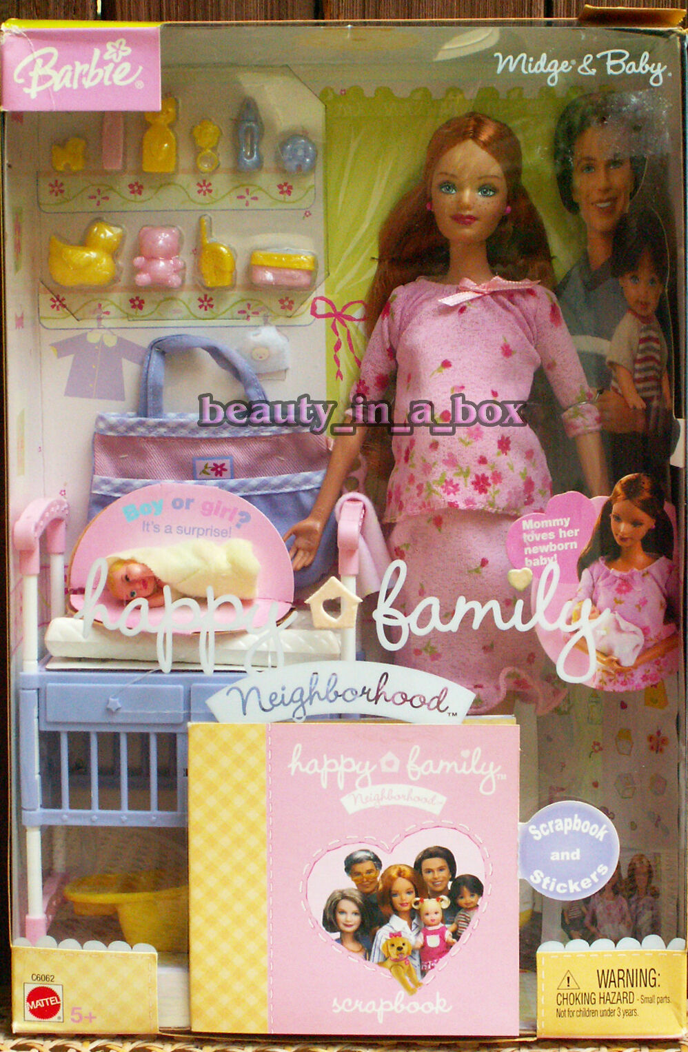 Familia feliz embarazada a Midge & Bebé Traje rosado Rara Muñeca Barbie nunca quitado de la Caja  SW