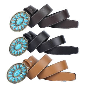 Mens-Accessories-Western-Leather-Belt-Automatic-Turquoise-Buckle-Cowboy-Belt
