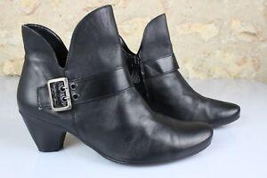 Bottines-Boots-en-Cuir-Noir-T-40-Excellent-Etat