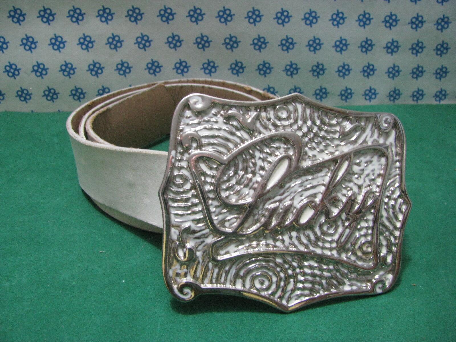 Frau Gürtel Echtes Leder Weiß Cm.105 X Cm.4 - La Flaca - Italy