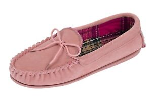 Lodgemok-Ladies-suede-moccasin-with-check-fabric-lining-Slippers