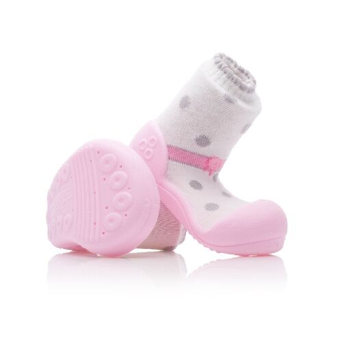 ATTIPAS BALLET PINK baby shoes slippers non slip rubber soles gripper moccons