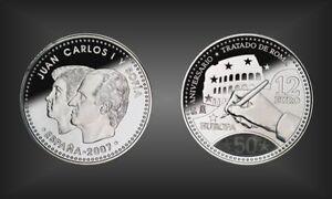 """12 Euro Argent Pièce Commémorative"""" 50. Ans De Traités De Rome """"espagne 2007-afficher Le Titre D'origine"""